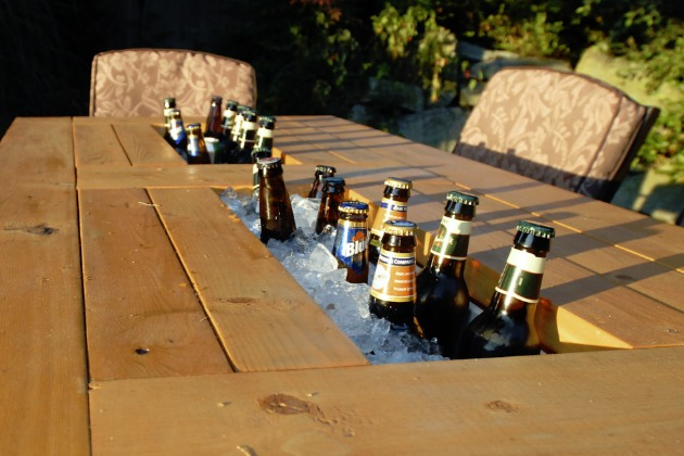 Patio Table with Built in Beer & Wine Coolers
