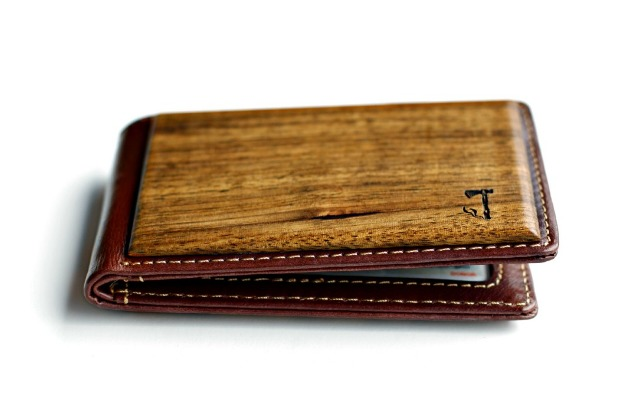 zebrawood bifold wallet fold