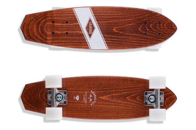 almond x shakastics skateboard top and bottom