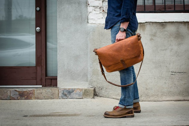 whipping post messenger bag in hand