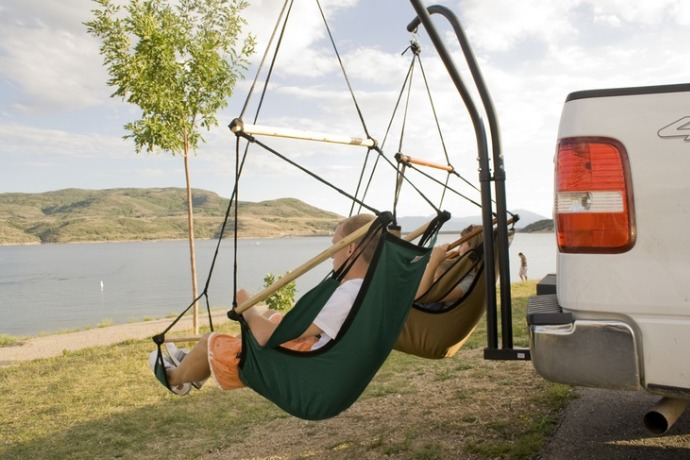 trailer hitch stand and hammock chair combo outing