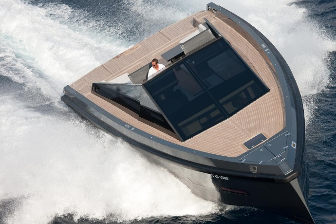 wally 55 boat futuristic lines and squared stance