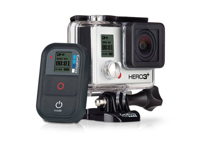 gopro hero3+ black camera front side and battery
