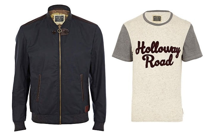 river island road collection t shirt and jacket