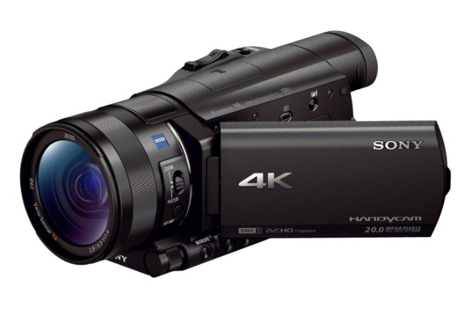 sony 4k fdr-ax100 camera front and folding display