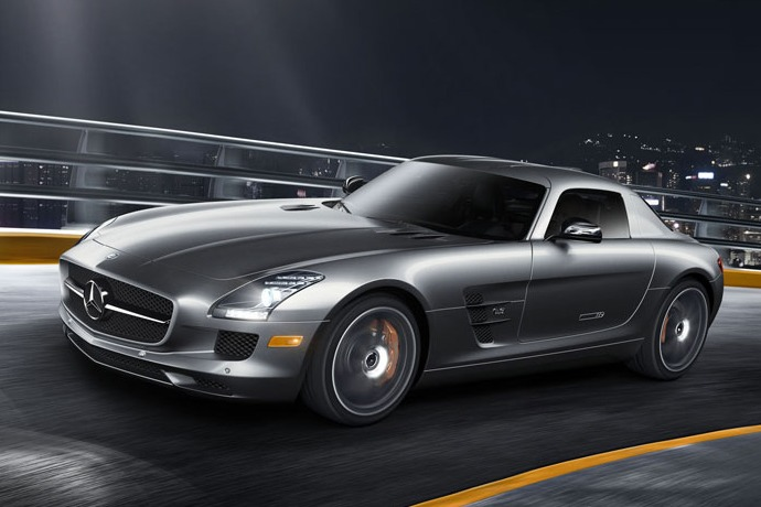 mercedes sls amg gt  running on the road