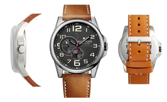 tommy hilfiger round leather strap