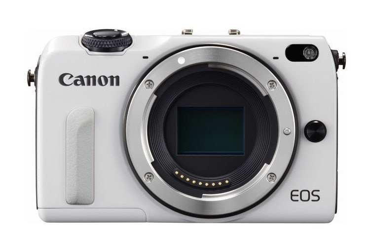 white color canon eos m2 camera