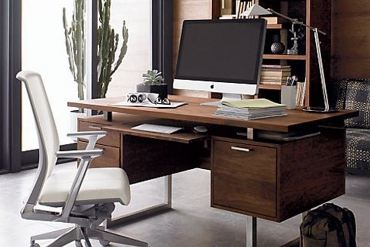 office table for home. Clybourn Desk Squared Stainless Steel Sled Legs Office Table For Home 6
