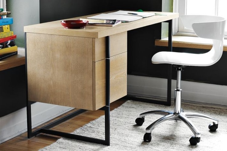 flat bar storage desk with white chair