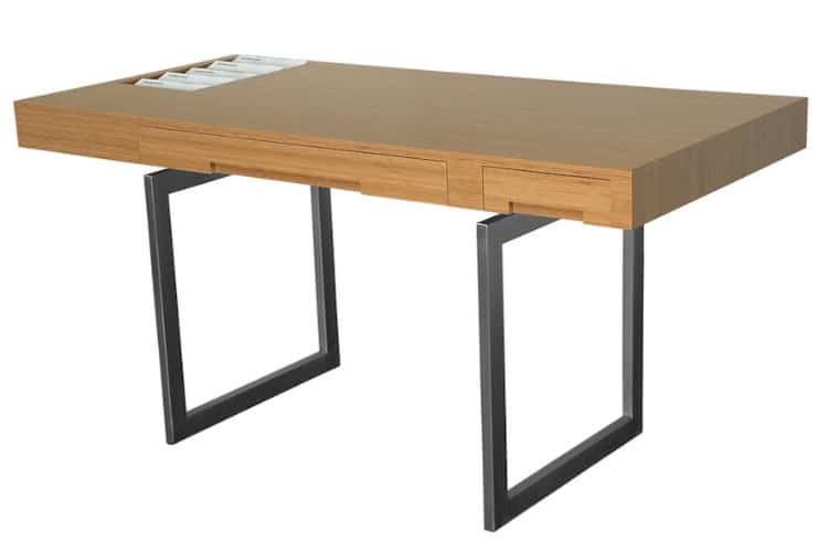 modernlink james desk bamboo and stainless steel