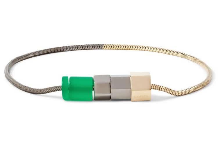 lanvin bolt & bead two-tone metal bracelet
