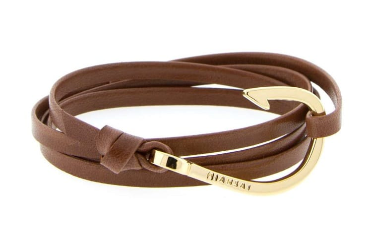 miansai gold plated hook brown leather