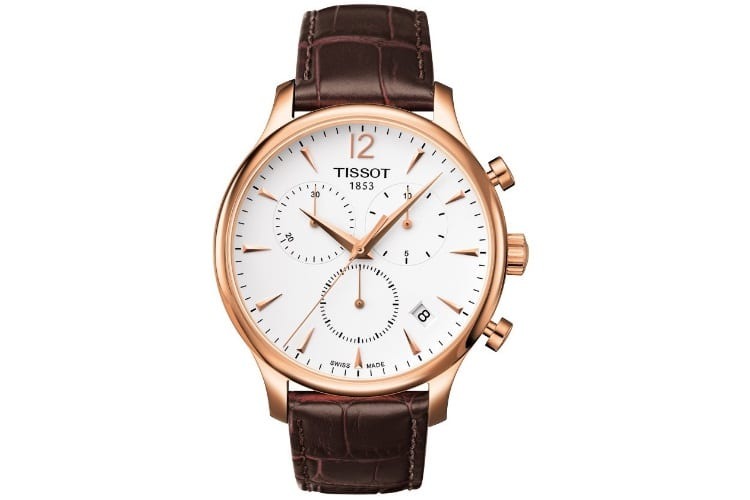 tissot tradition rose gold chronograph watch
