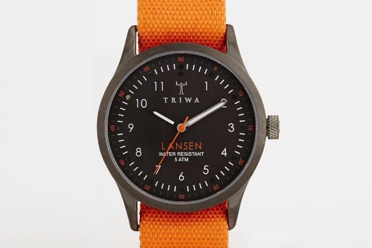 triwa lansen orange canvas strap