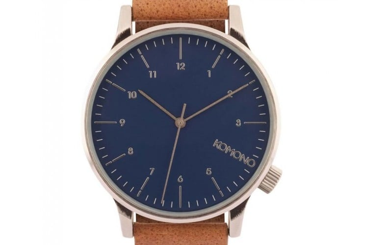 komono watch winston blue cognac