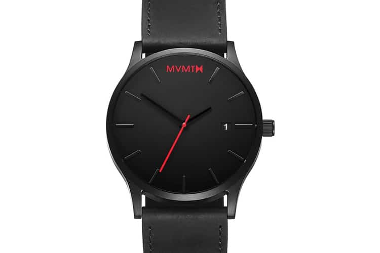 mvmt black and black leather watch strap