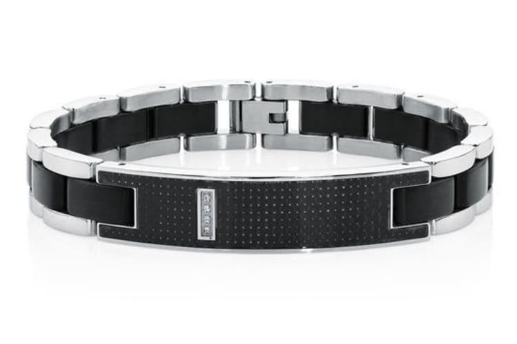 men's stainless steel and carbon fibre bracelet