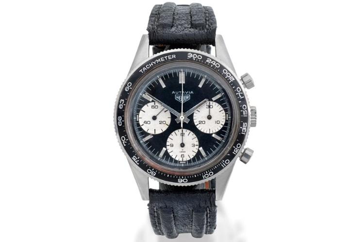 heuer stainless steel chronograph wristwatch autavia circa