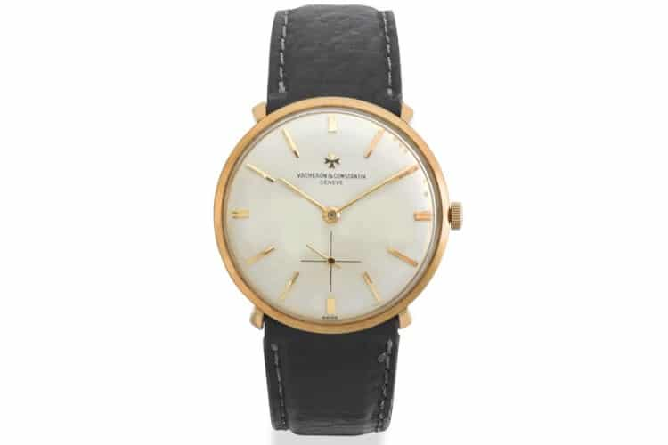vacheron and constantin 18ct gold wristwatch leather strap