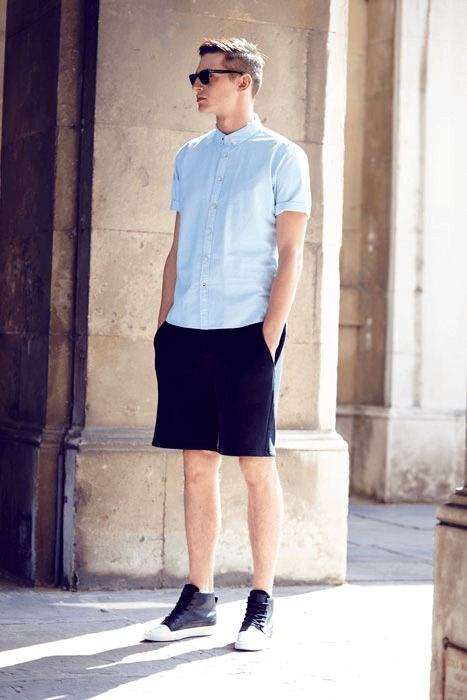 notch half sleeve shirt and shorts