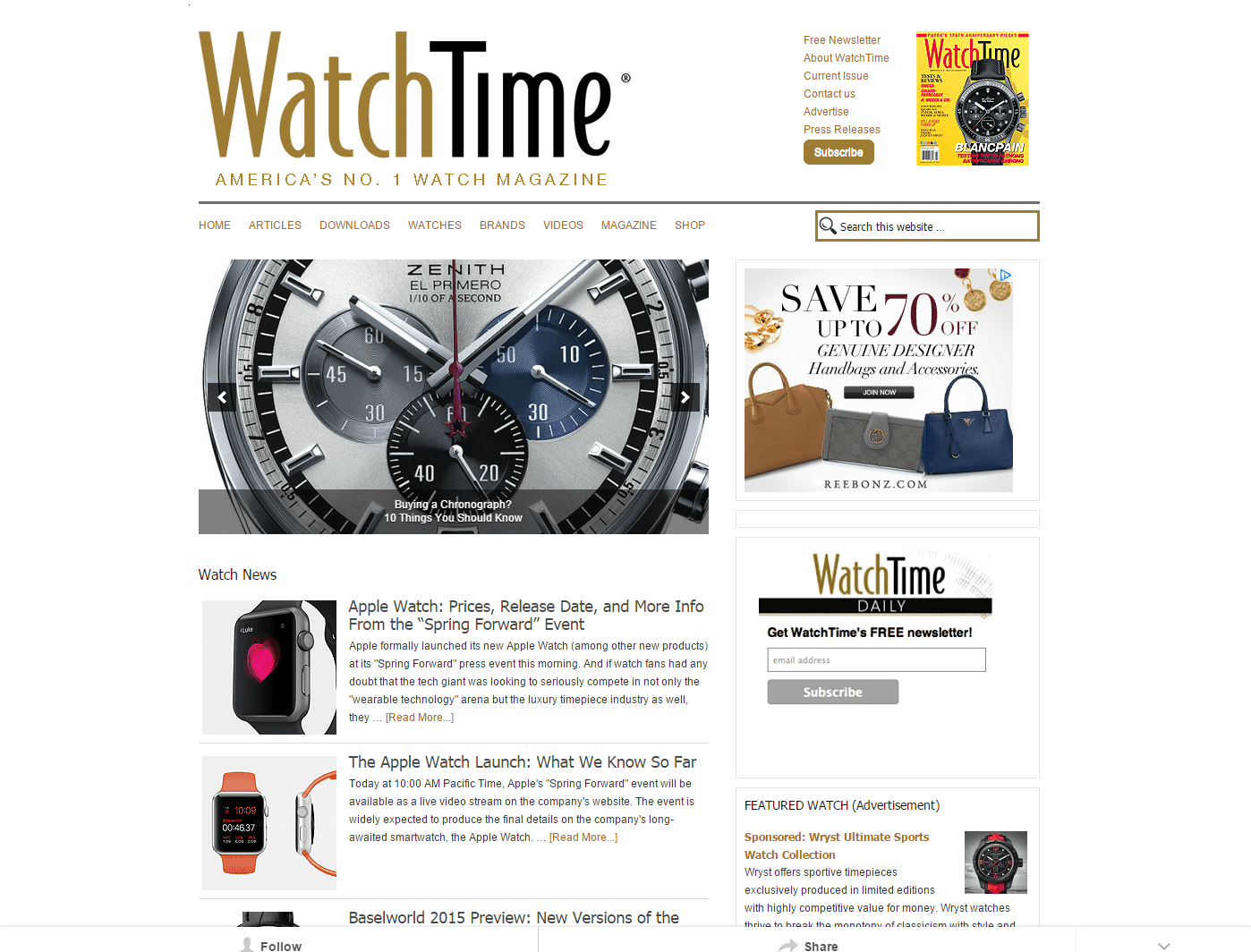 WatchTime USA s No.1 Watch Magazine Wristwatch reviews watch news watch database.