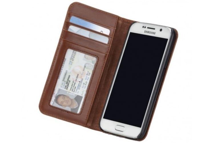 samsung s6 matte brown leather wallet case
