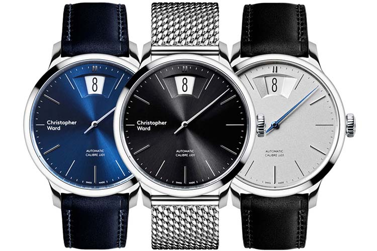 the wind up white blue black color watch