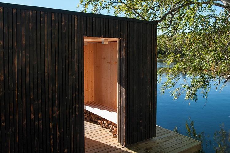 floating sauna wood log under the bench