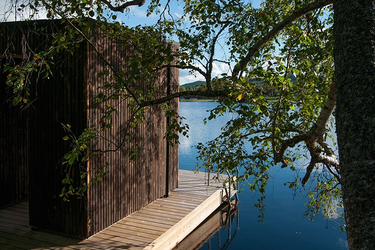 floating sauna corridor and railing on water