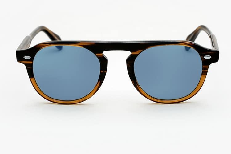garrett leight x nick wooster sunglasses blue lens