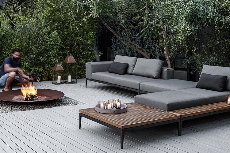 grid sofa outside home