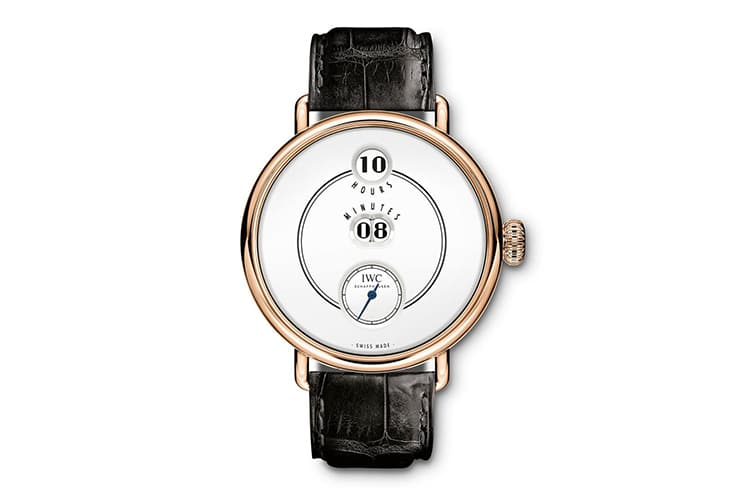 iwc pallweber gold watch with black strap