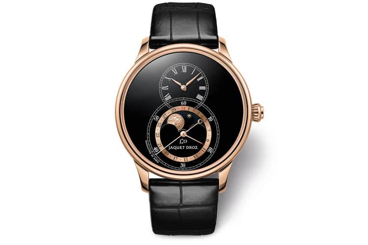 jaquet droz grande seconde moon in black enamel