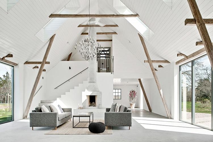 sweden barn house inner view