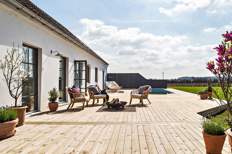 sweden converted barn home courtyard view