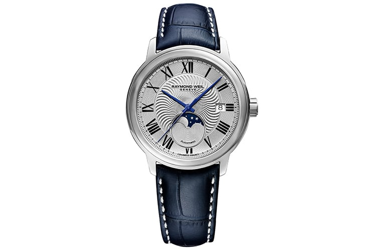 raymond weil maestro moonphase leather belt watch