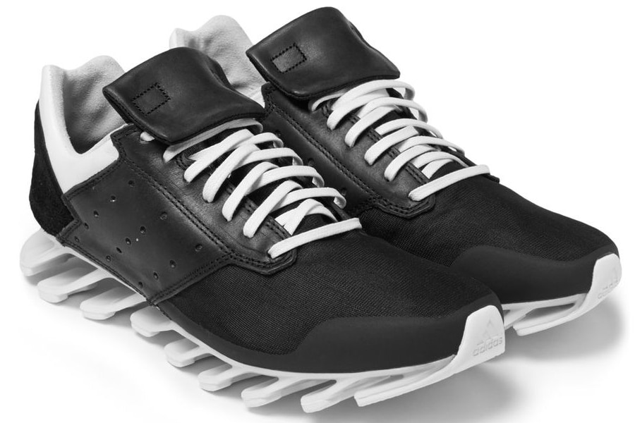 Rick Owens adidas Springblade Leather and Rubber Sneakers 'Black'