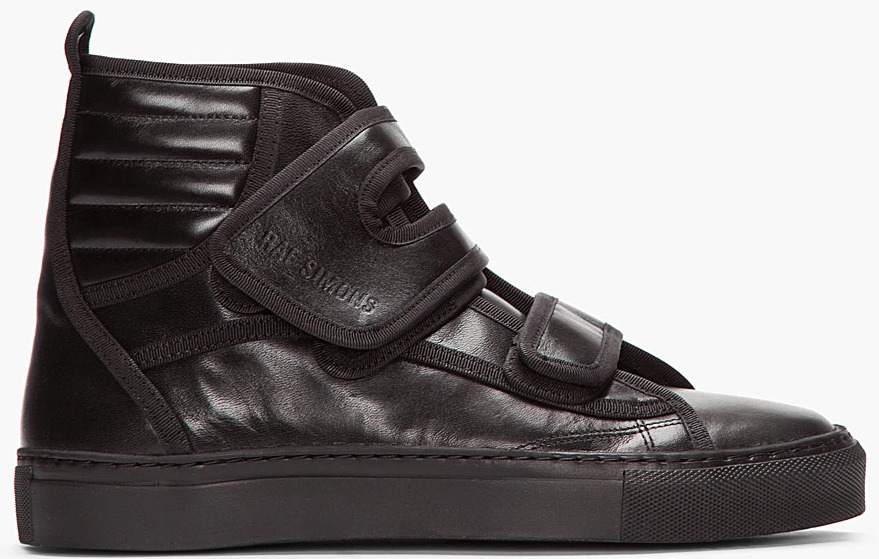 raf simons leather high top black sneakers