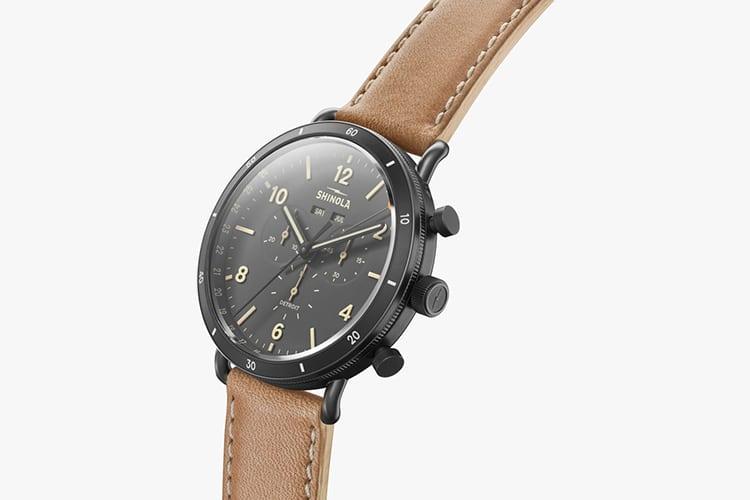 shinola watch black color leather strap