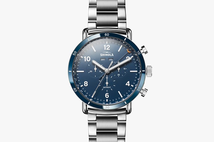shinola watch blue color stainless steel