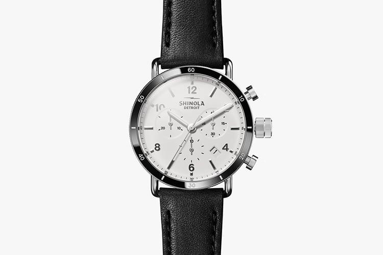shinola watch black color round shape