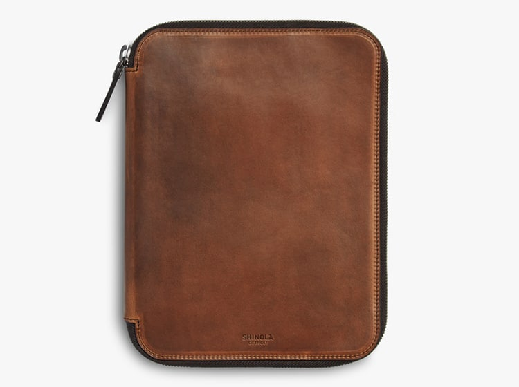 leather shinola tech carrying case