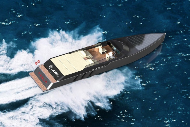 tesla e vision gt concept boat on the sea