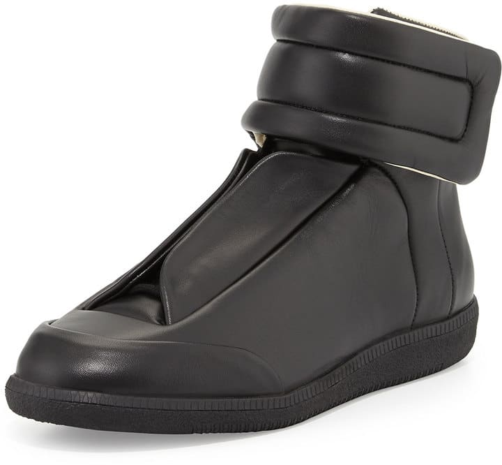 maison margiela future leather high top black sneakers