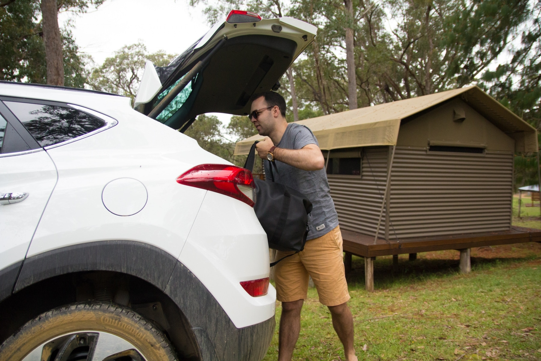 glamping luxury meets nature car open trunk