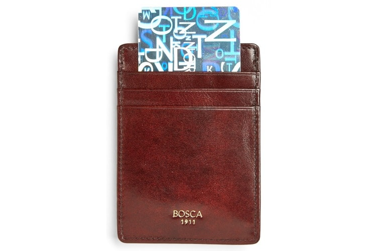 Bosca Leather Money Clip & Card Wallet