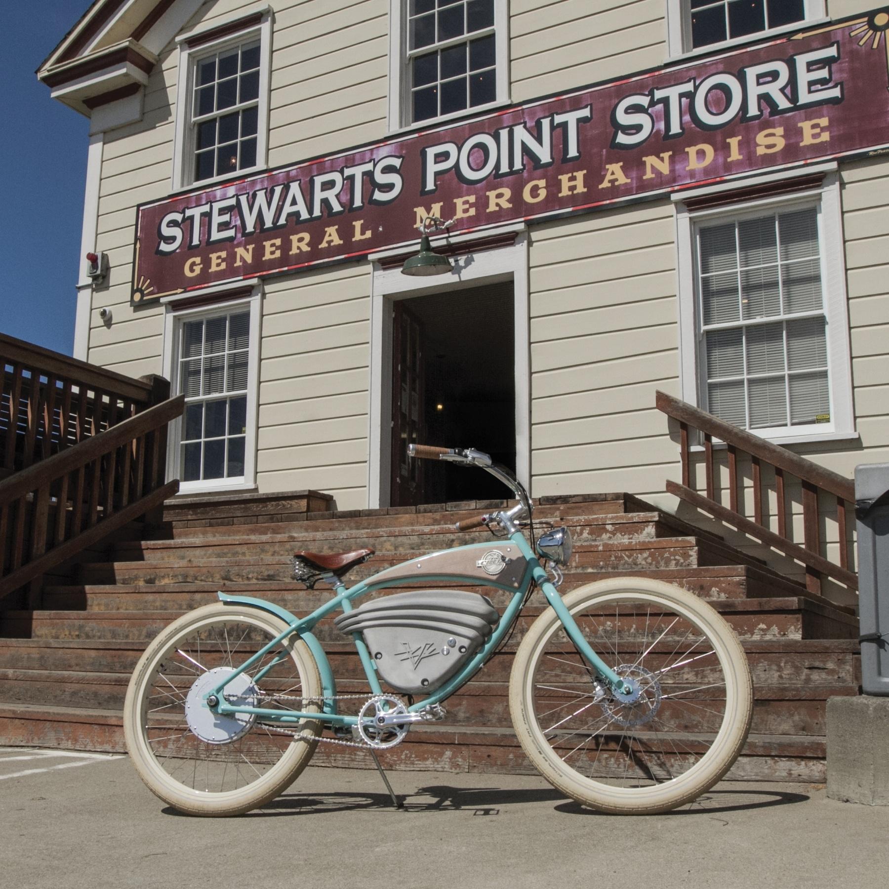 aqua cruz bikes infront of stewarts point store