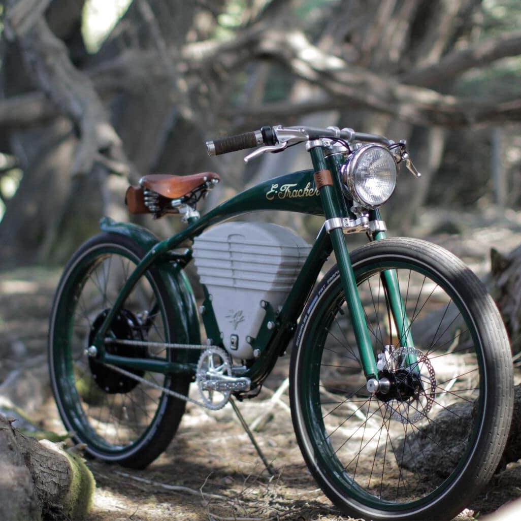 vintage old school electric bikes green