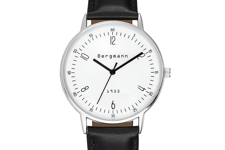 bergmann classic watch with black strap